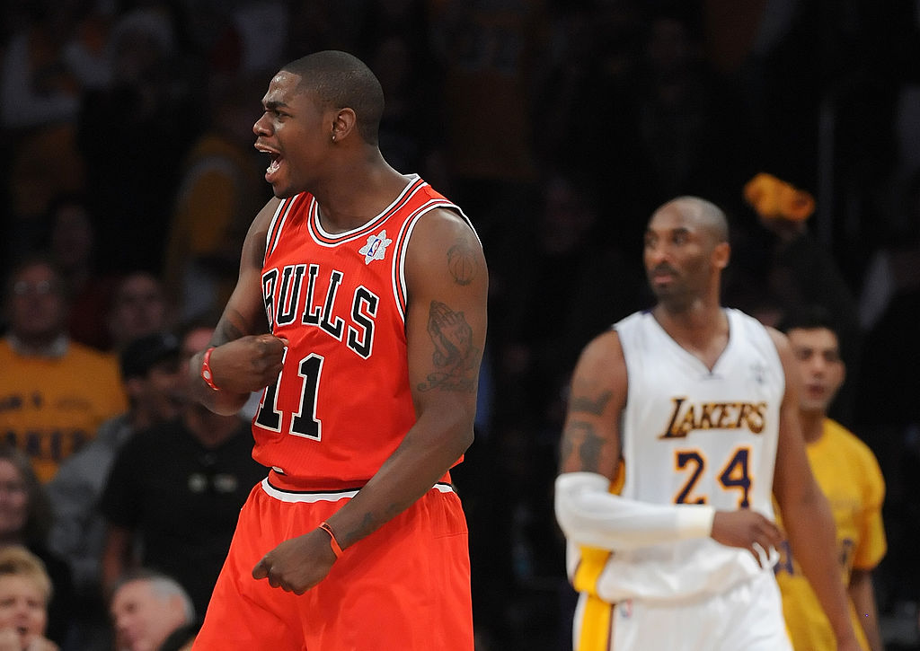 Ronnie Brewer of the Chicago Bulls celebrates defeating the Los Angeles Lakers.