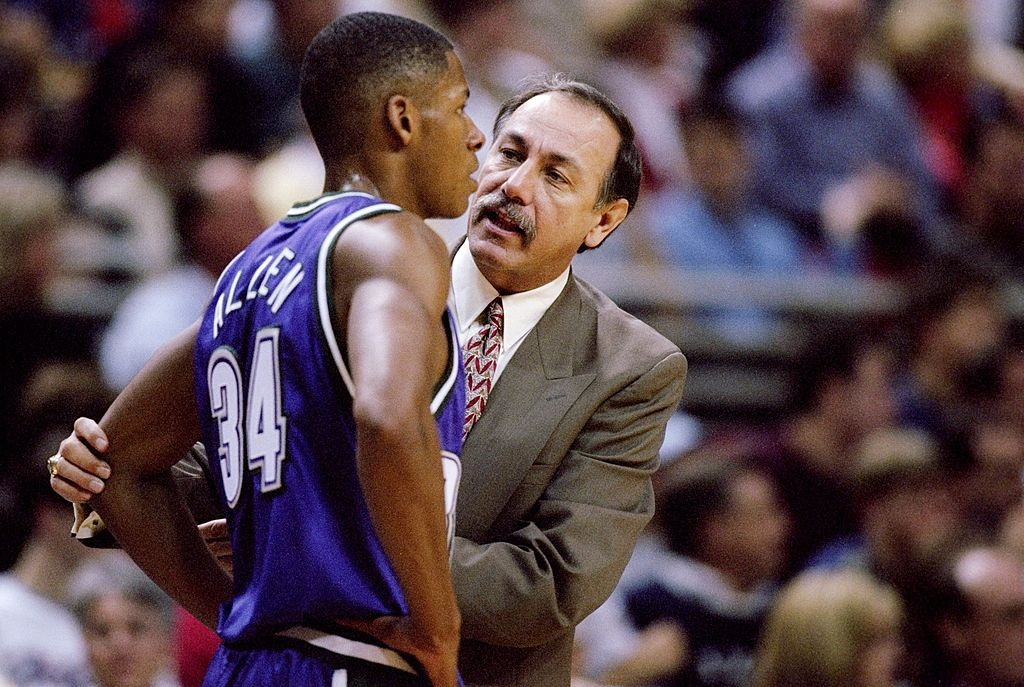 Head coach Chris Ford of the Milwaukee Bucks talks with a young Ray Allen.