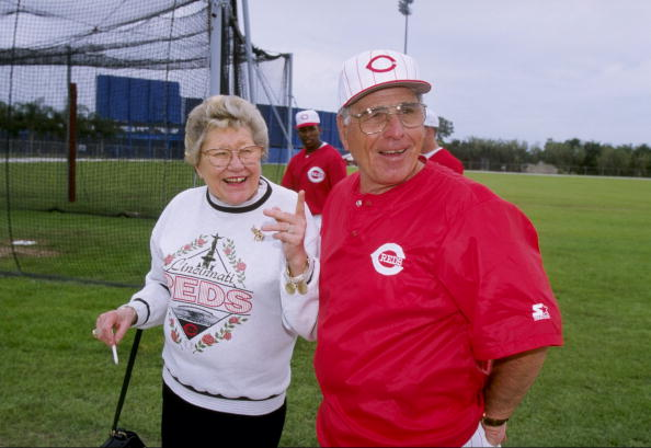 Manager Jack McKeon talks with Reds owner Marge Schott during Spring Training.