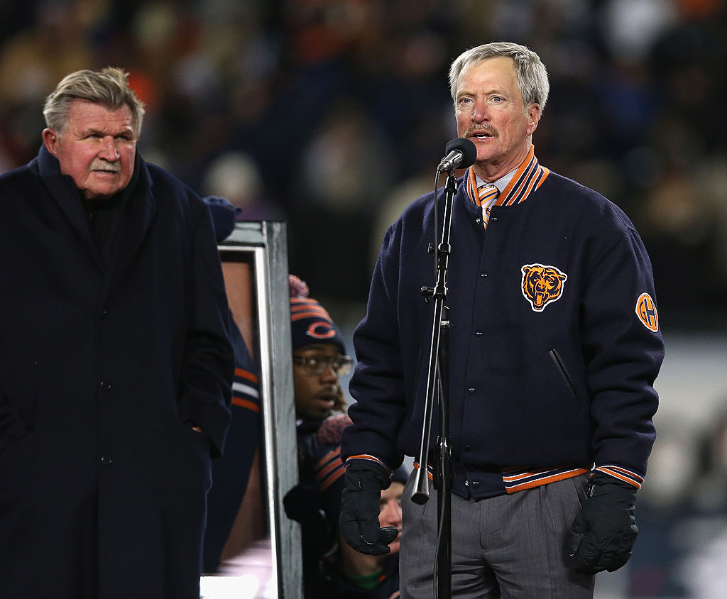 Chairman George McCaskey of the Chicago Bears speaks during a number retirement ceremony for Mike Ditka.