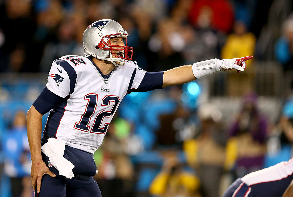 Tom Brady of the New England Patriots yells to his teammates.