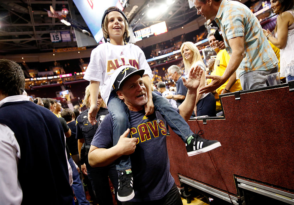 Cleveland Cavaliers owner Dan Gilbert celebrates after defeating the Atlanta Hawks during Game 4 of the 2015 Eastern Conference Finals.