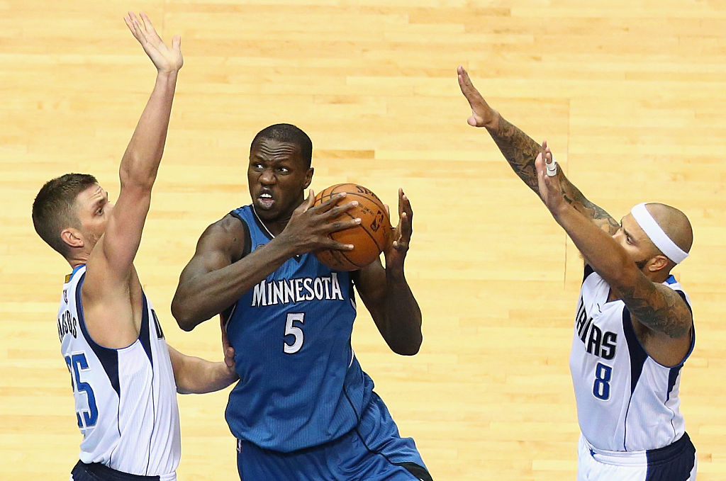 Minnesota Timberwolves center Gorgui Dieng attacks the basket.