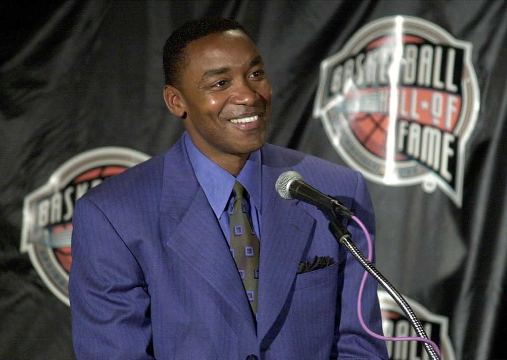 Isiah Thomas talks to reporters at the Palace of Auburn Hills.