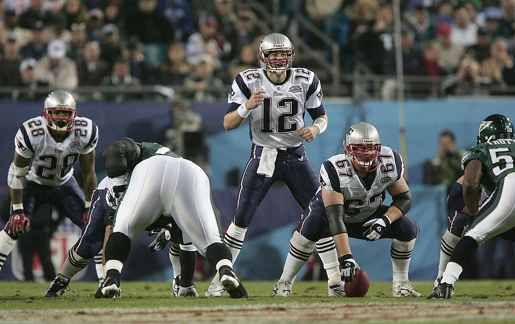 Tom Brady of the New England Patriots starts the play during Super Bowl XXXIX against the Philadelphia Eagles.