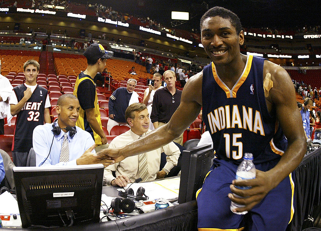 Ron Artest of the Indiana Pacers greets former teammate Reggie Miller.