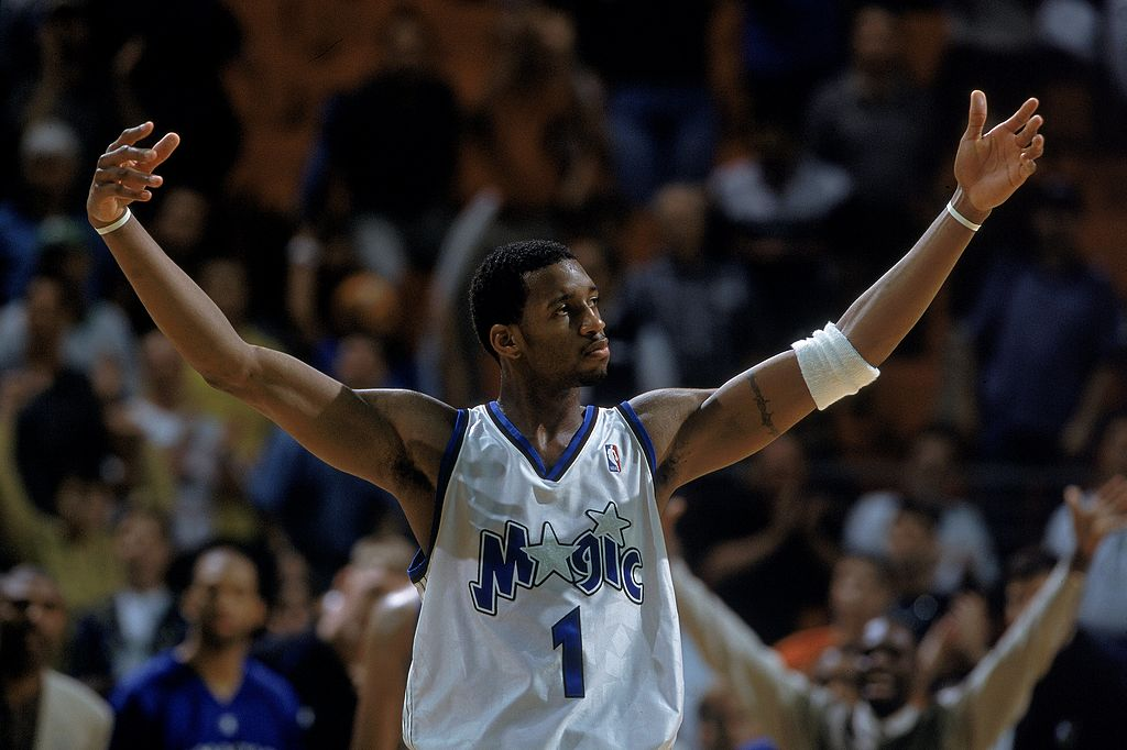 Tracy McGrady of the Orlando Magic walks out to the court.