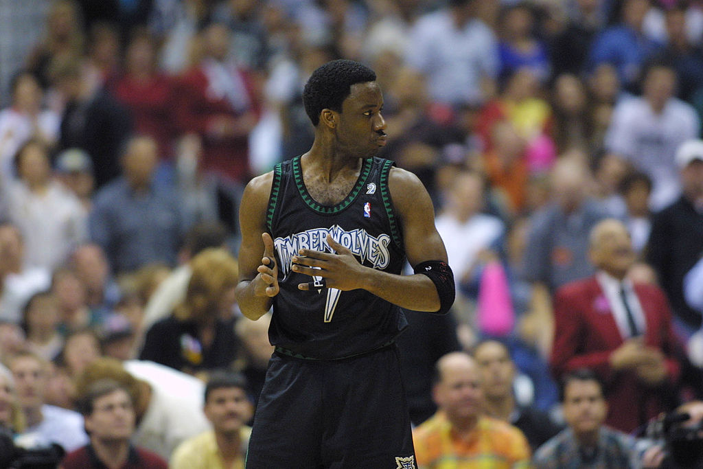 Terrell Brandon of the Minnesota Timberwolves waits for a game to begin.