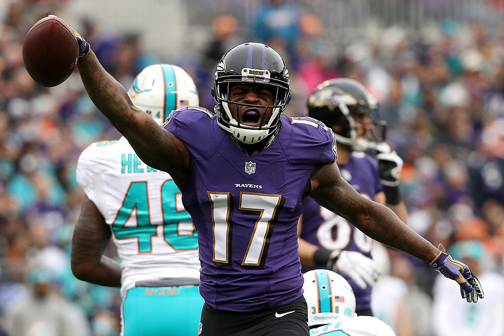 Wide receiver Mike Wallace of the Baltimore Ravens reacts after making a catch against the Miami Dolphins | Patrick Smith/Getty Images