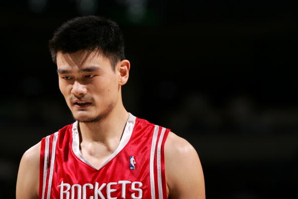 Yao Ming of the Houston Rockets is on the court during a game against the Milwaukee Bucks.