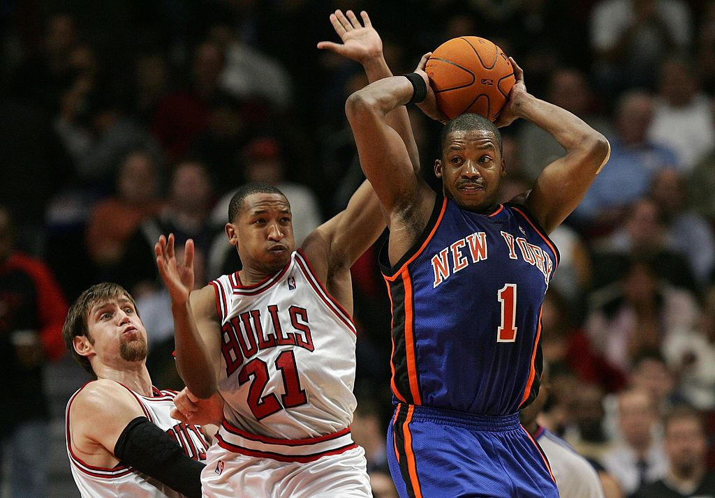 Steve Francis of the New York Knicks looks to pass.