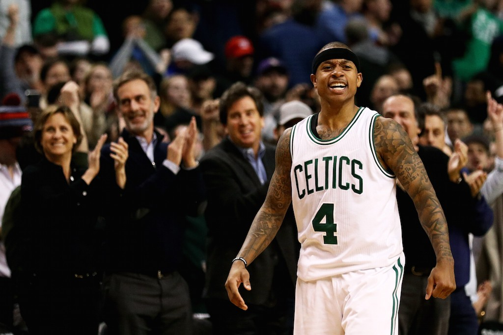 Isaiah Thomas is pumped up after making a three.