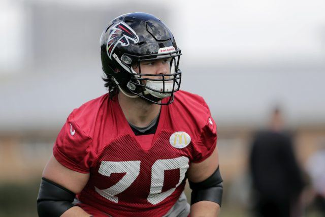Jake Matthews looks alert during practice.