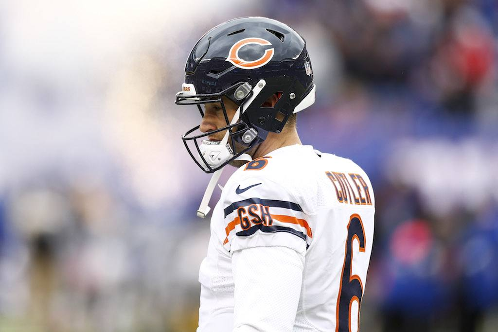 Jay Cutler of the Chicago Bears stands on the sidelines.