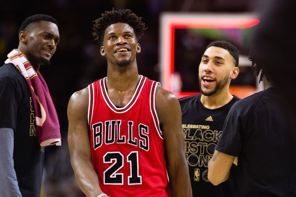 Jimmy Butler of the Chicago Bulls celebrates with teammates.