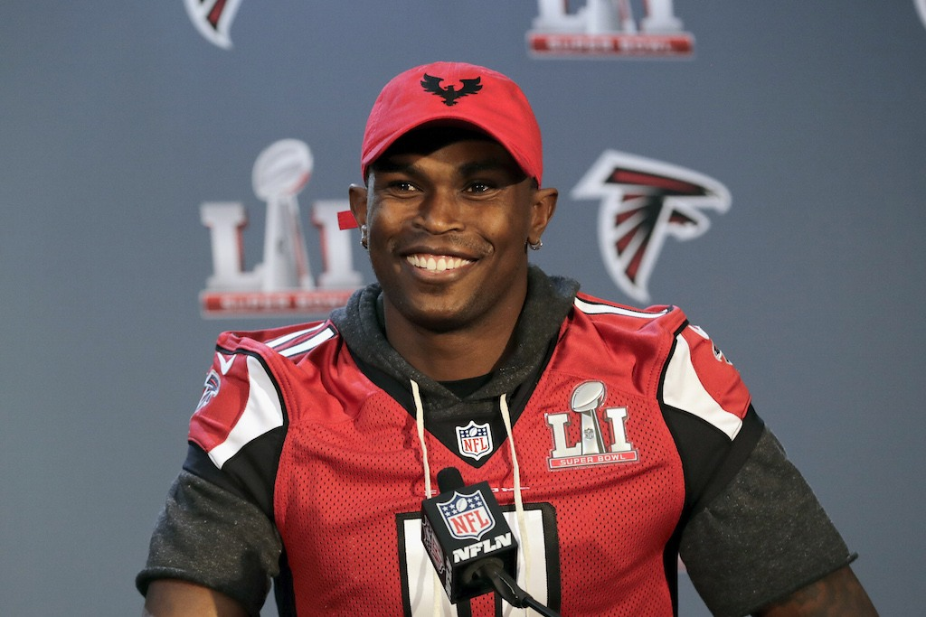 Julio Jones speaks to the media at the Super Bowl press conference.