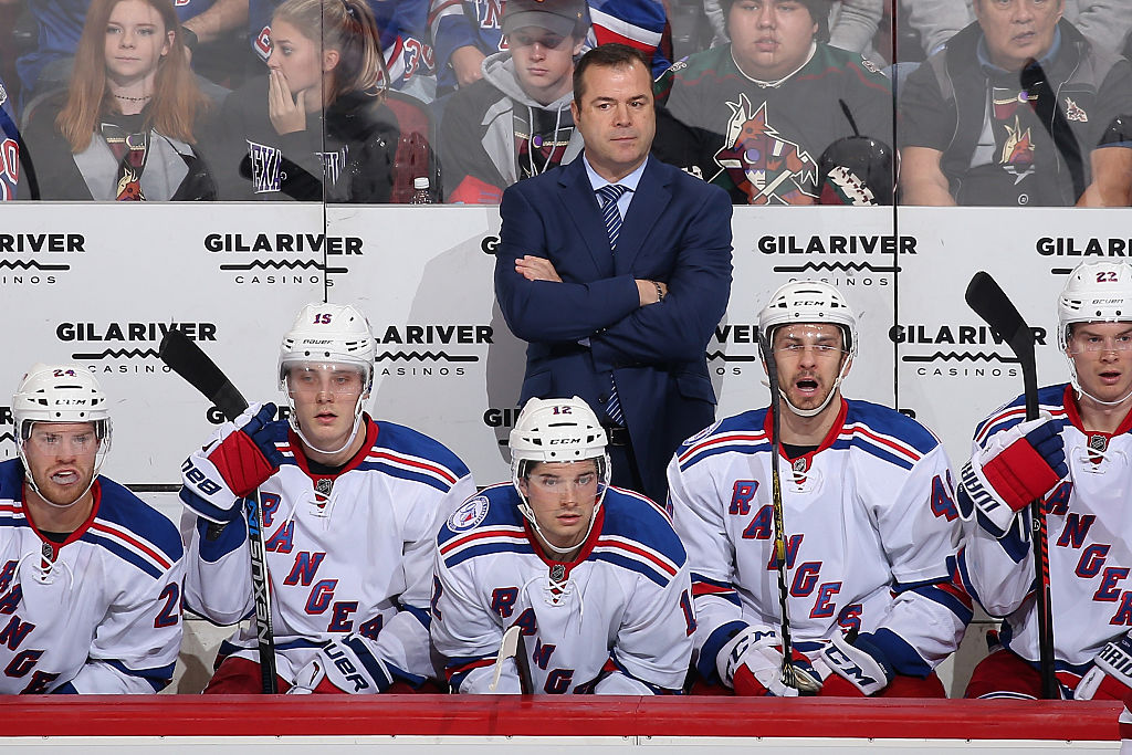Head coach Alain Vigneault of the New York Rangers watches from the bench.