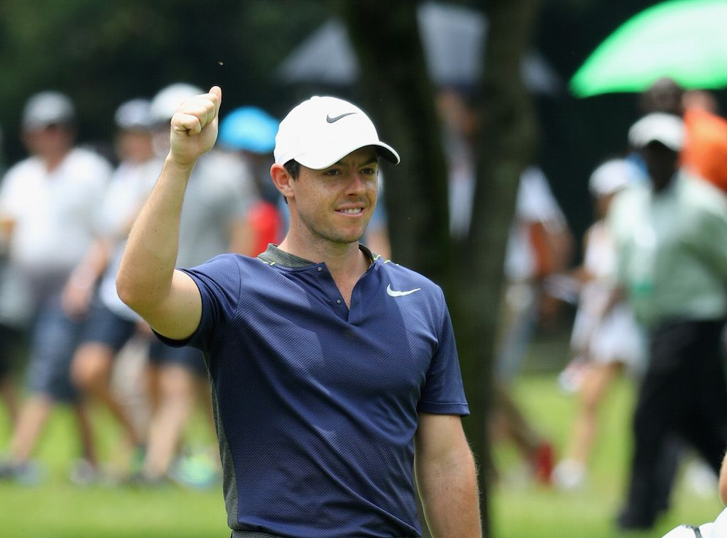 Rory McIlroy of Northern Ireland celebrates making an Eagle on the seventh hole.