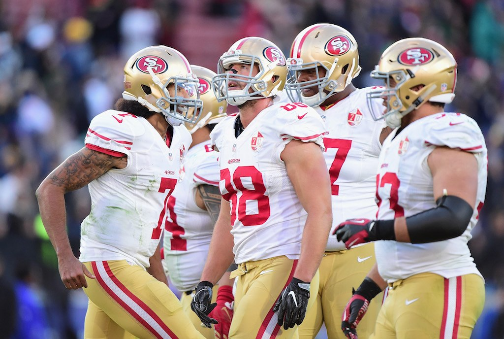 Garrett Celek of the San Francisco 49ers looks on during a game.