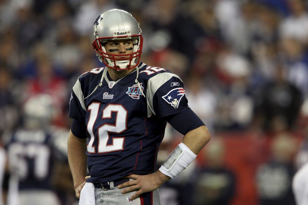 Quarterback Tom Brady #12 of the New England Patriots looks on during Super Bowl XLII.