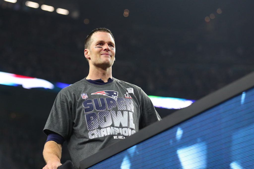 Tom Brady wearing his Super Bowl champions shirt