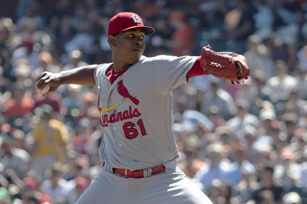 Alex Reyes pitches for the Cardinals.
