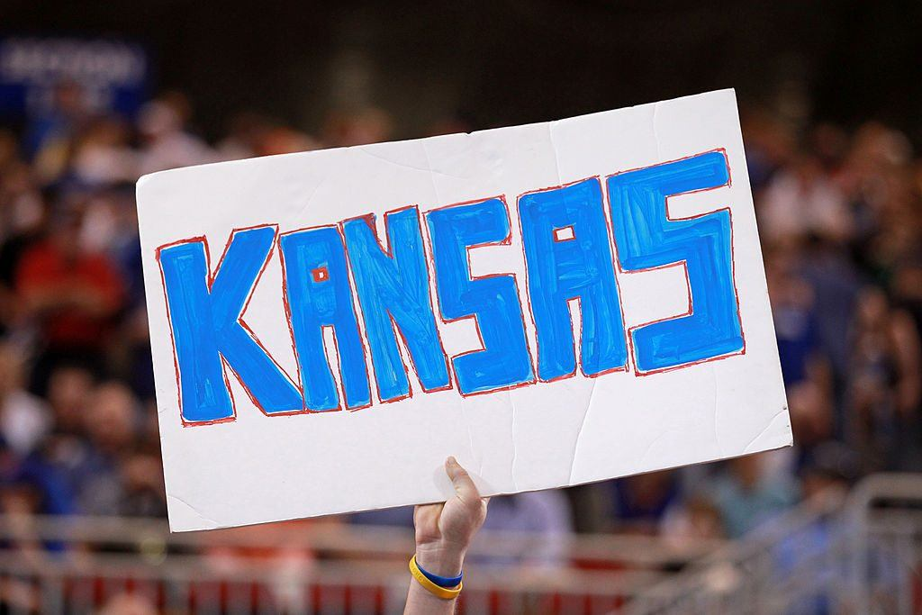 A fan of the Kansas Jayhawks shows support.