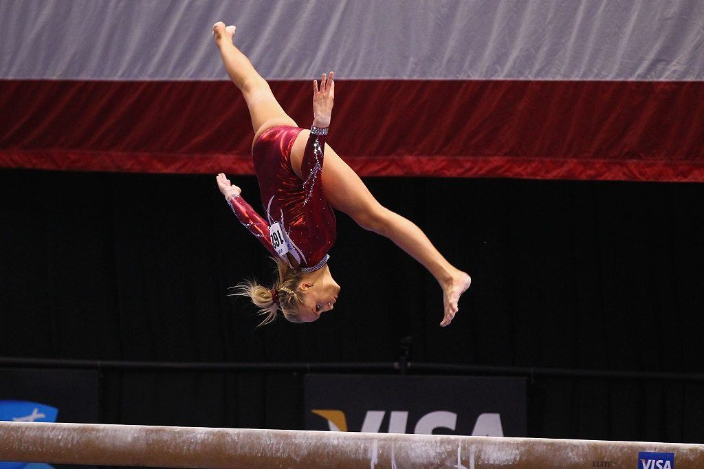 Nastia Liukin competes on the beam during the 2012 Senior Women's competition on day four of the Visa Championships.