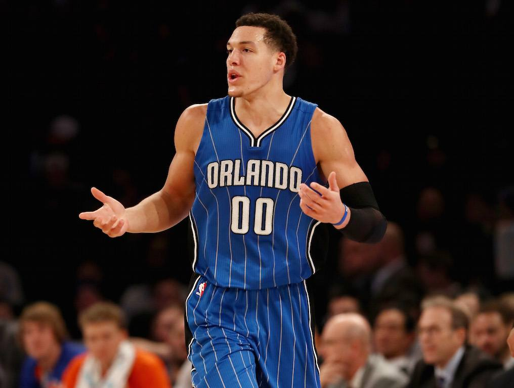 Aaron Gordon reacts to a call.