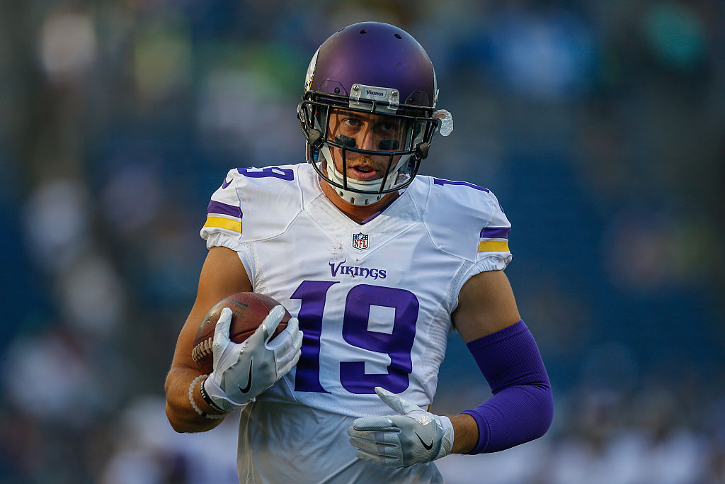 Wide receiver Adam Thielen of the Minnesota Vikings warms up prior to a game.