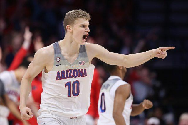 Lauri Markkanen of the Arizona Wildcats reacts after hitting a triple.