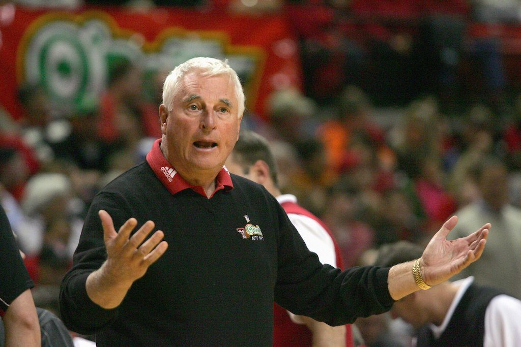 Bob Knight of the Texas Tech Red Raiders reacts to a call.