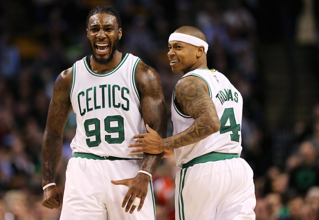 Jae Crowder #99 of the Boston Celtics and Isaiah Thomas #4 of the Boston Celtics celebrate.