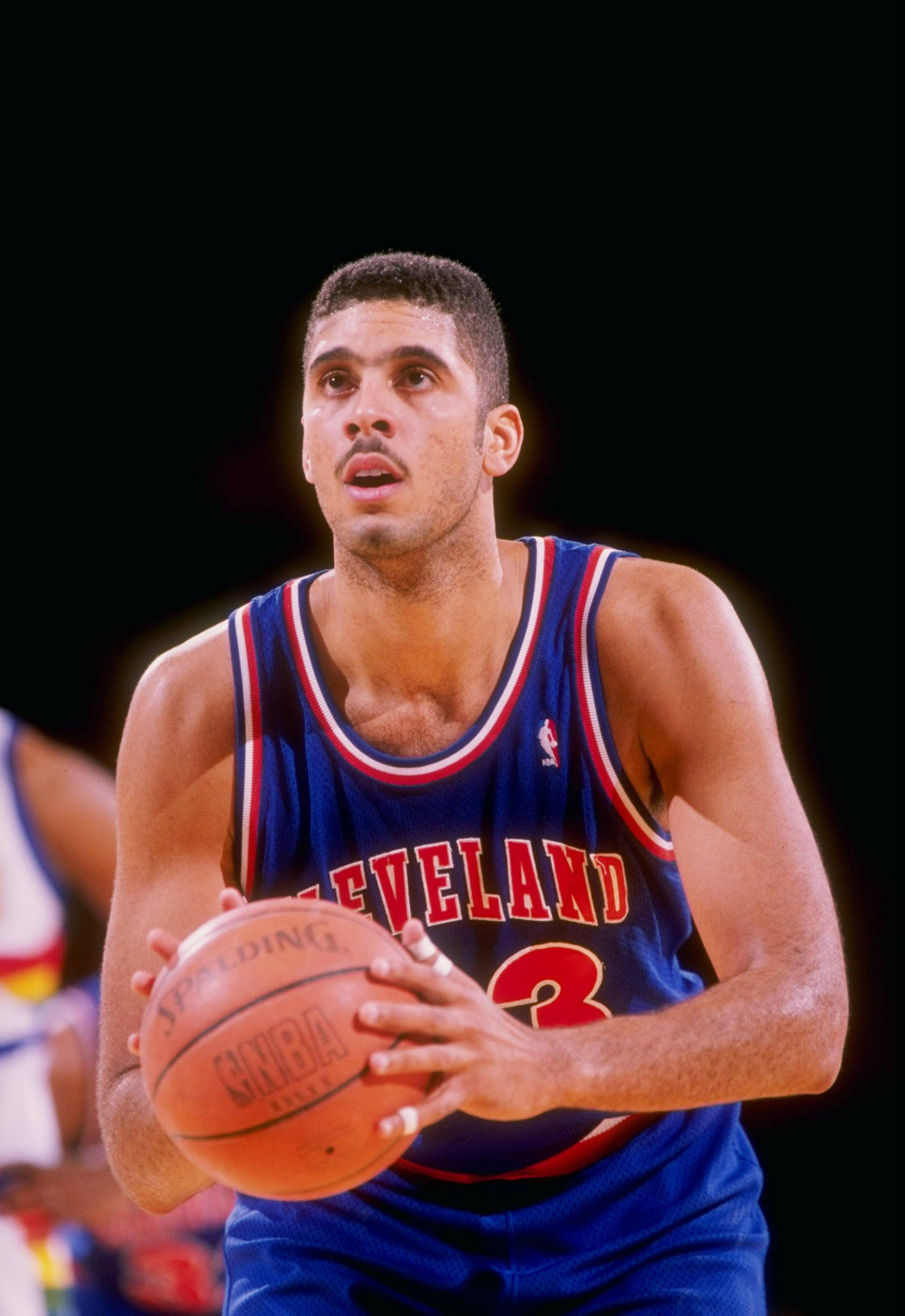 Center Brad Daugherty of the Cleveland Cavaliers looks to shoot the ball.