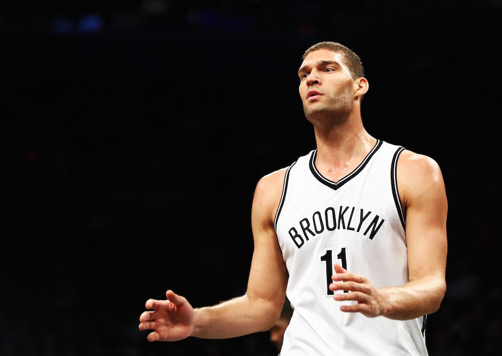 Brook Lopez looks on during a game against the Pelicans.