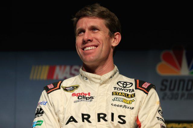 Carl Edwards chats with the media.