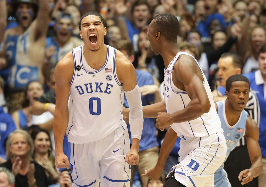 Duke's Jayson Tatum and Harry Giles react after a play.