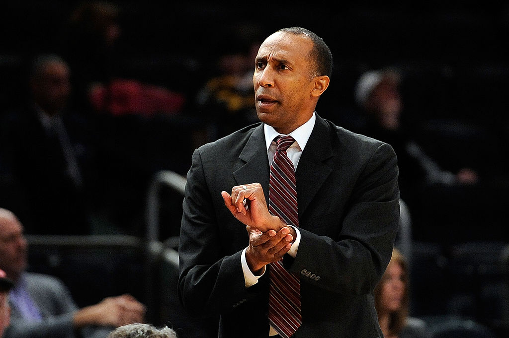 Head coach Johnny Dawkins of Stanford reacts to a call.