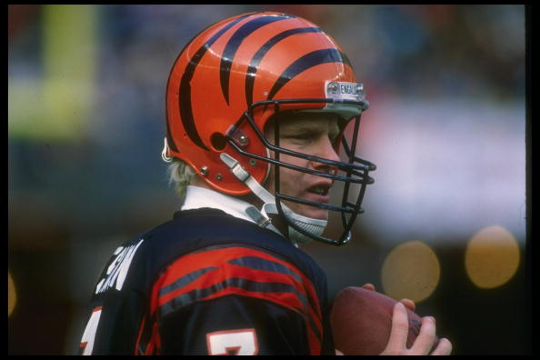 Quarterback Boomer Esiason of the Cincinnati Bengals looks on during a game against the Washington Redskins.