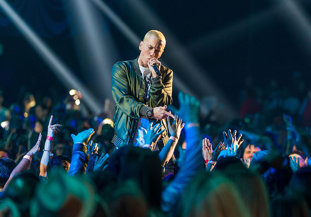 Eminem performs on stage.