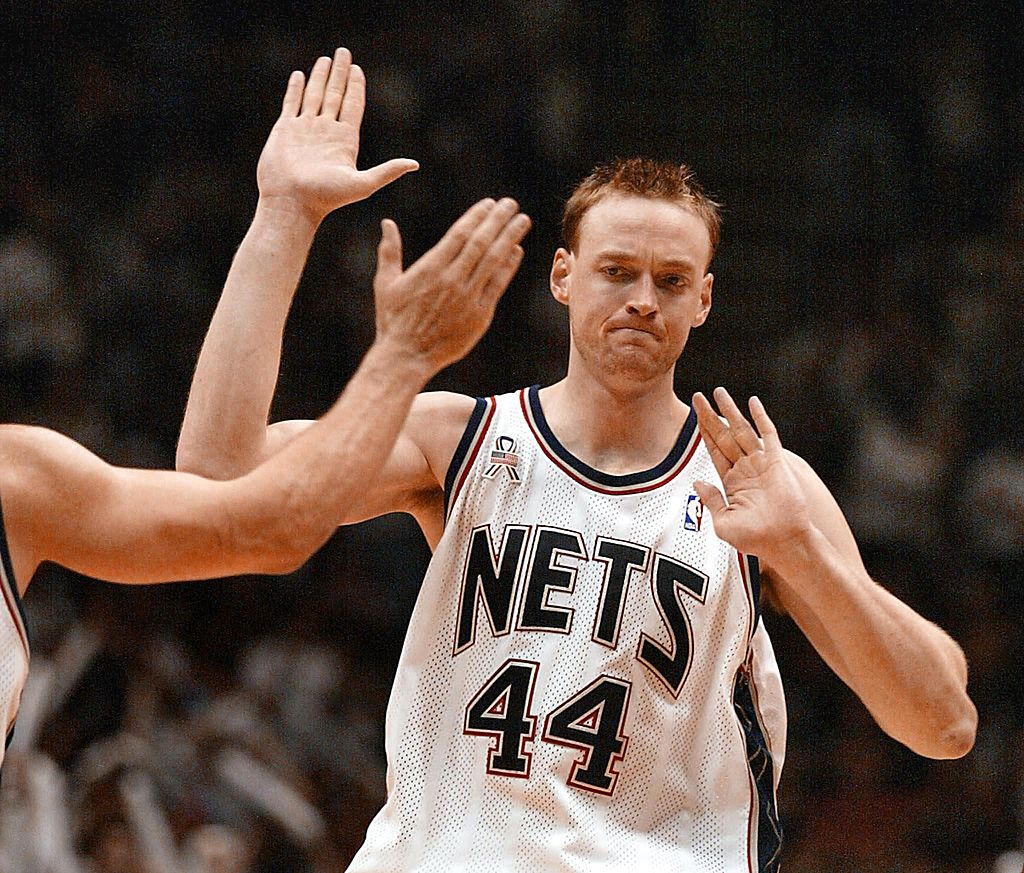 Keith Van Horn celebrates the New Jersey Nets' win over the Boston Celtics.