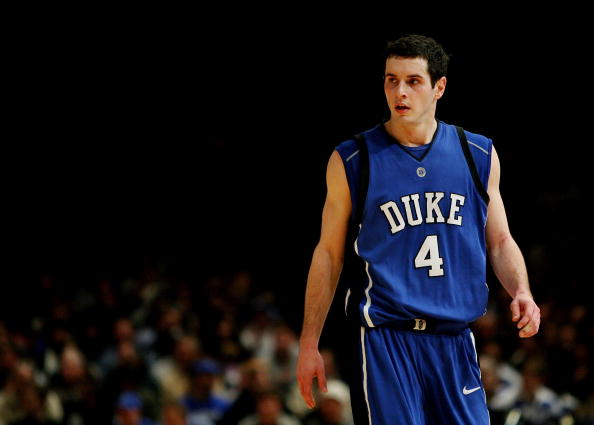 J.J. Redick of the Duke Blue Devils walks down the court.