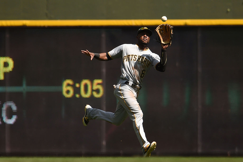 Starling Marte of the Pittsburgh Pirates fields a fly ball.