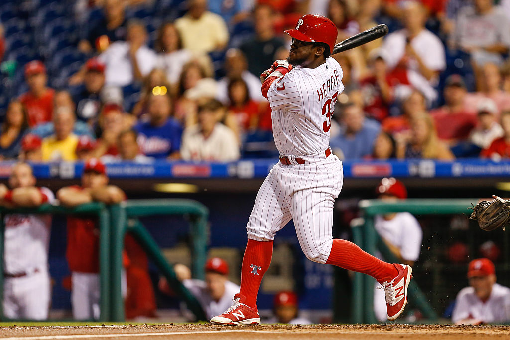 Odubel Herrera of the Philadelphia Phillies looks on after hitting a two-run home run.