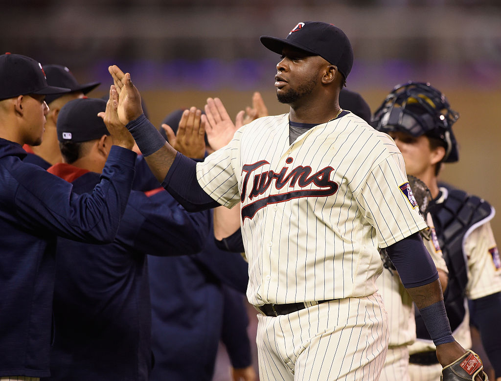 Miguel Sano of the Minnesota Twins celebrates winning a game against the Seattle Mariners.