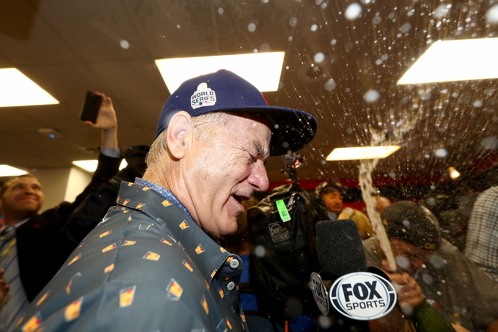 Bill Murray celebrates in the clubhouse after the Chicago Cubs defeated the Cleveland Indians in the 2016 World Series.