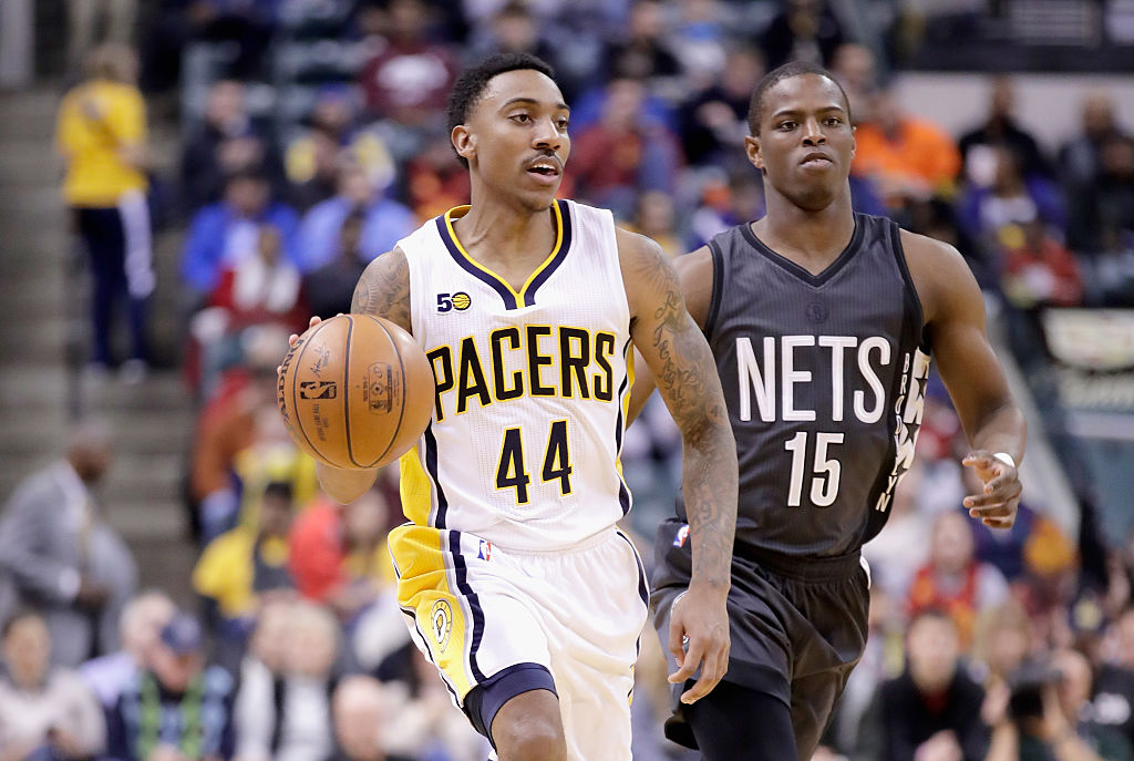 Jeff Teague of the Indiana Pacers dribbles the ball during the game against the Brooklyn Nets.