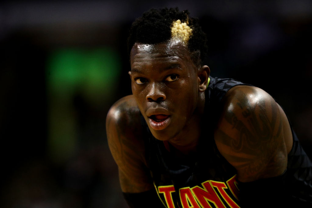 Dennis Schroder of the Atlanta Hawks looks on during a game.