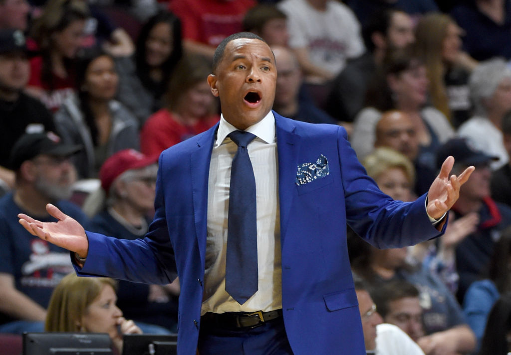 Head coach Damon Stoudamire of the Pacific Tigers reacts during a game against the Gonzaga Bulldogs.