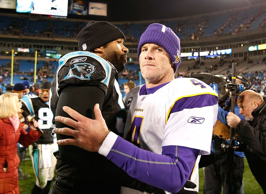 Julius Peppers of the Carolina Panthers against quarterback Brett Favre of the Minnesota Vikings.